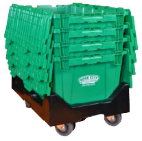 Rose City Moving & Storage's green moving crates are easy to pack, stack and move!